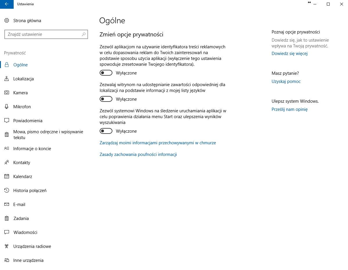 Ustawienia prywatności Windows 10